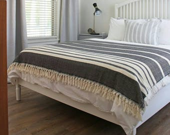 Black Herringbone Bedspread   Natural Cotton Blanket With Fringes   Large  Stripe BedCover   Anniversary Birthday