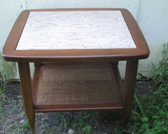 Wicker nightstand etsy pair mid century modern side table danish modern end table travertine bedside table marble nightstand mid century rattan wicker lamp table aloadofball Image collections
