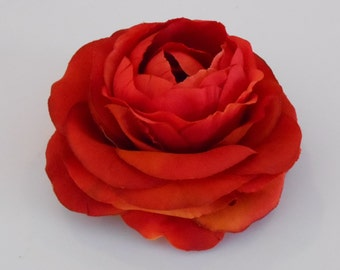 Spicy Orange Silk Ranunculus / Silk Crafting Flowers / Artificial Flowers / Silk Ranunculus / Orange Flowers / Diy Crafting Wedding Flowers
