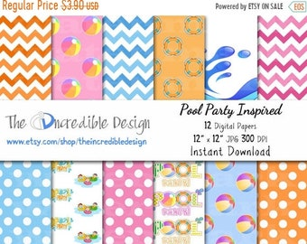 ON SALE Pool Party Inspired digital paper pack for scrapbooking, Making Cards, Tags and Invitations, Instant Download