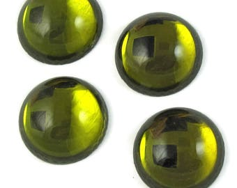 Green Vintage Glass Cabochons 4 pcs 18mm Chartruse Green Stones S-237