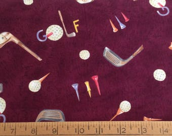 Golf theme cotton fabric by the yard