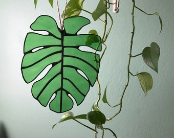 Stained Glass Monstera, Philodendron Monstera leaf (light or dark green only)