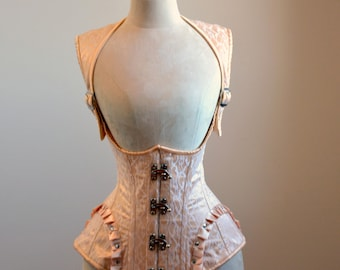 Vest corset in steampunk style with high back. Gothic Victorian, steampunk affordable cheap corset, girlfriend's gift, historical corset