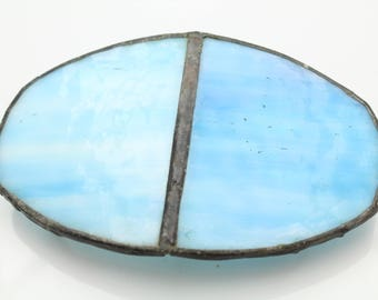 Vintage Blue Stained Glass Artisan Belt Buckle With Dark Metal. [11728]