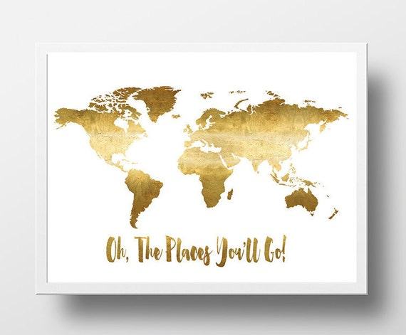 Oh the places youll go printable world map poster gold gumiabroncs Gallery