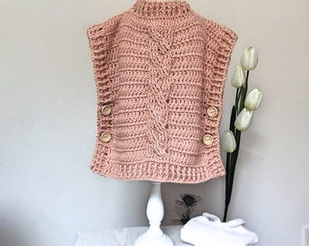 CROCHET PATTERN for Poncho, pullover Zeyna, Sizes 1-2 years,3-4 years,5-7 years,8-9,10-12 years, S,M,L,XL
