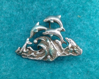 Vintage Mexican Sterling Silver Brooch or Pin Of Happy Leaping Dolphins