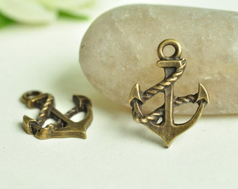 20pcs Antique Bronze Small Anchor Charms 15x19mm MM817