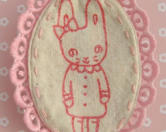 Little Pink Bunny Original Handpainted Brooch - SALE - 64 PER CENT OFF