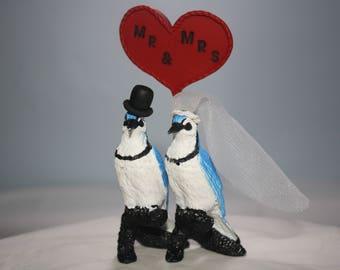 Blue Jays Wedding Cake Topper Figurines; Animal Cake Topper; Blue Jays Decor; Bird Bride and Groom; Anniversary Cake Topper