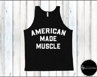 Men's Weight Lifting Shirt American Made Muscle Shirt Men's Gym Tank Men's Workout Shirt Men's Lifting Shirt Men's Cutoff Gym Shirt Workout