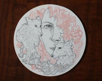 Original drawing on 6x6 birch round // unique illustration