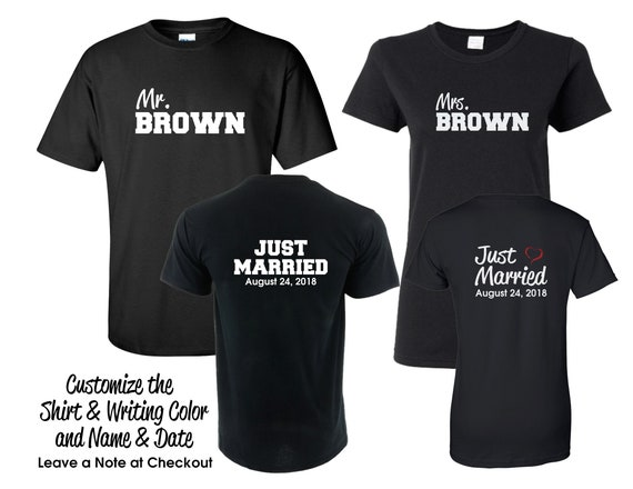 Just Married Mr. and Mrs. T-shirt Set - Customize the Date and Your Colors- Honeymoon Shirts - Wedding Gift - Shower Gift DcIKq