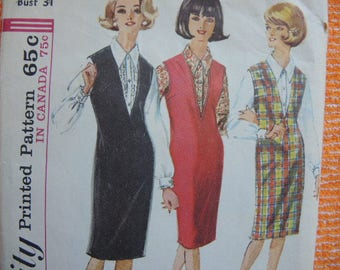 vintage 1960s simplicity sewing pattern 5584 misses jumper and blouse size 10
