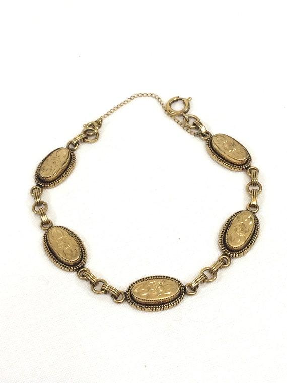 Victorian Gold Filled Bracelet, Oval Links, Engraved Flowers Floral Leaves Motif, Roped Design, Victorian Revival, 1950s Vintage Jewelry