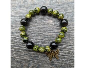 Obsidian Beaded Butterfly Bracelet