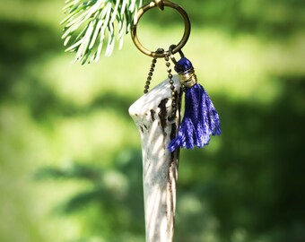 Antler Tip Keychain with Wire Wrapped Cobalt Tassel