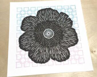 Linocut Print, Relief Print Art, Block Print Art, Flower Print, Nature Wall Art, Flower Art, Botanical Wall Art, Flower Decor, Linocut Art