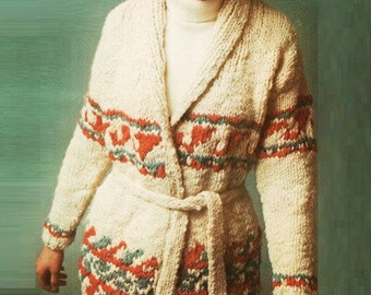 Mexican Jacket Pattern Sweater Pattern Cardigan Pattern Vintage 70S KNITTING PATTERN poncho pattern wrap pattern