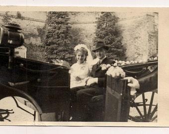 Wedding picture in carriage - Memorabilia young couple adorable portrait analog Real Photo Postcard Photography Antique RPPC paper ephemera