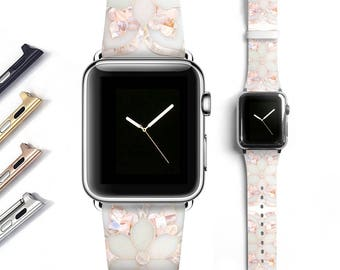 Floral Marble Apple watch band women, Apple watch strap, genuine leather band, grey white 38mm 42mm S056