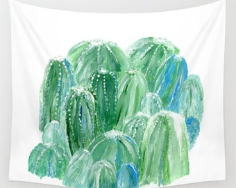 Cactus Abstract Wall Tapestry, plant wall tapestry, dorm room decor, green white tapestry, cactus wall tapestry, blue green tapestry