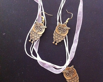 Owl Earrings and Necklace Gift Set, Owl Jewelry Gift Set, Bronze Tone Owl Earrings With Matching Necklace, Matching Owl Gift Set