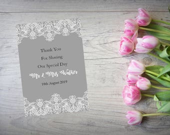 Personalised Wedding Thank You Cards with Matching Envelopes Pack Of 10 TY84
