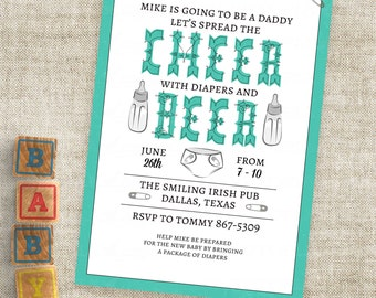 Men Only Shower Invitation in Teal Diaper and Baby Bottle Printable Personalized Custom Digital File with Professional Printing