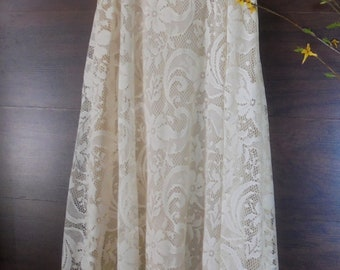 Ivory lace dress vintage  wedding summer  60s 70s  empire line simple  romantic   small  by vintage opulence on Etsy