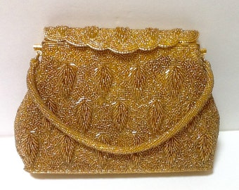 Vintage Gold Beaded Evening Bag / Top Handle / Bride / Mid Century /Wedding / Hollywood Regency / Evening Wear / Retro / High Fashion