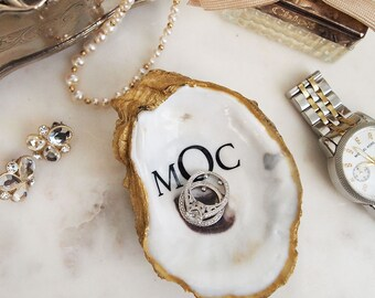 Monogrammed Oyster Shell Jewelry Dish - Block monogram