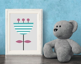 Kids Flower Printable Art,  Digital Print, Wall Art,  Kids Printable Art, Kids Printable, Nursery Art, Flower, Blue, White