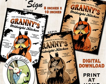 Halloween Sign Printable Witch Digital Download Vintage Style Label Tag Clip Art Scrapbook Collage Sheet Printable DIY Image Clipart