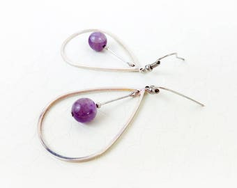 Earrings 'Cyrille' II - Amethyst gemstones and silver teardrop hoops - Statement earrings, gift for her, red and gold - Handmade jewelry