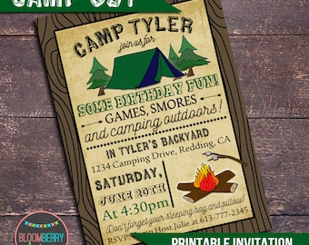 Camping Party Invitation, Campout Party Invitation, Printable Camping Invitation, Boys Camping Party, Camp Out Party, Boys Sleepover Invite