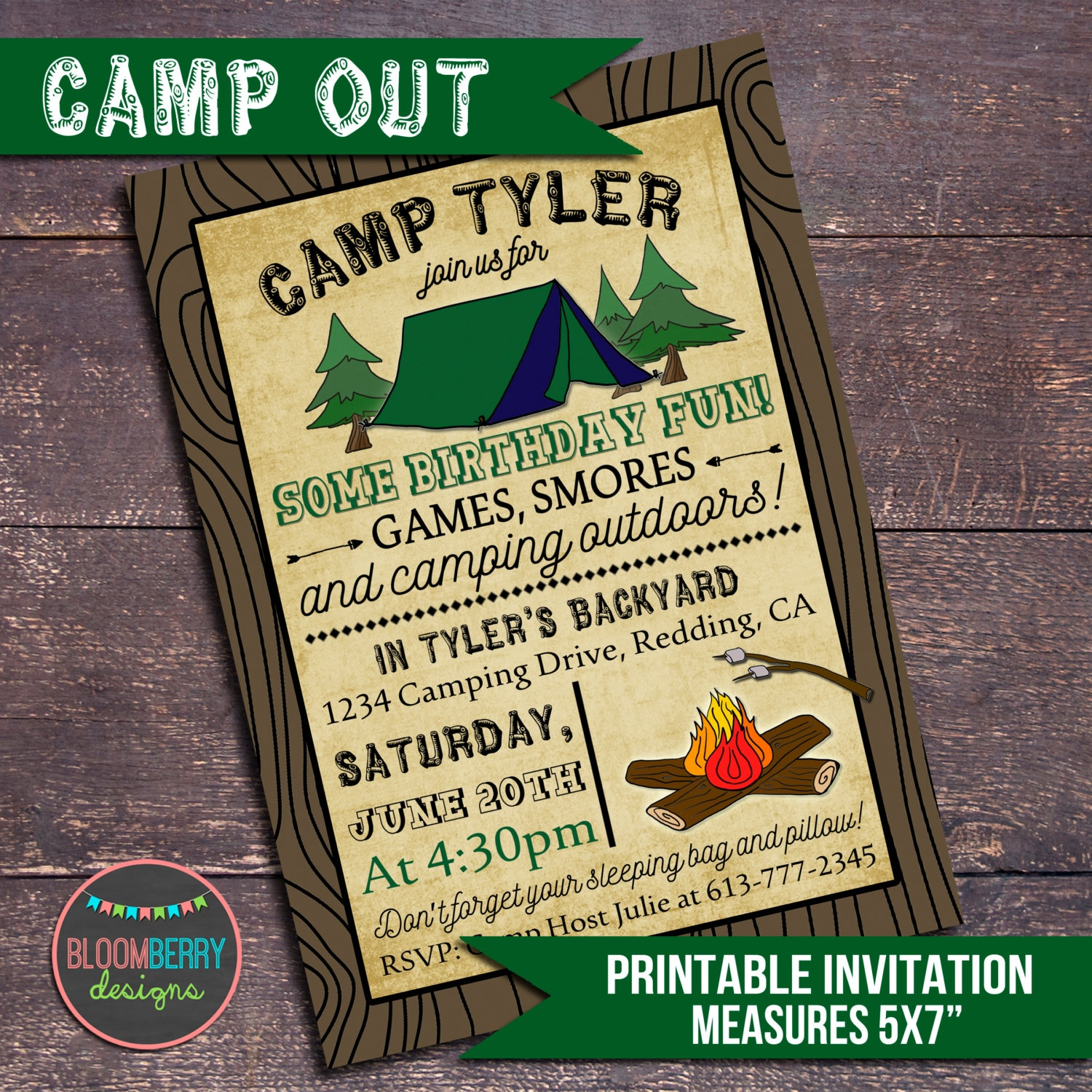 Camping Party Invitation Campout Printable