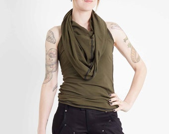 Crisiswear Razorback MKII Women's Hooded Tank - Top With Future Forward Draped Style - Stretch Jersey For Snug Comfortable Fit