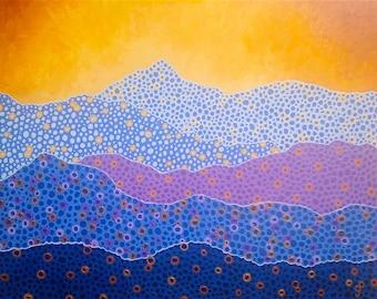 "Mountain Art Original Painting Yellow Blue Purple Wall Art Zen Decor 16"" x 20"""