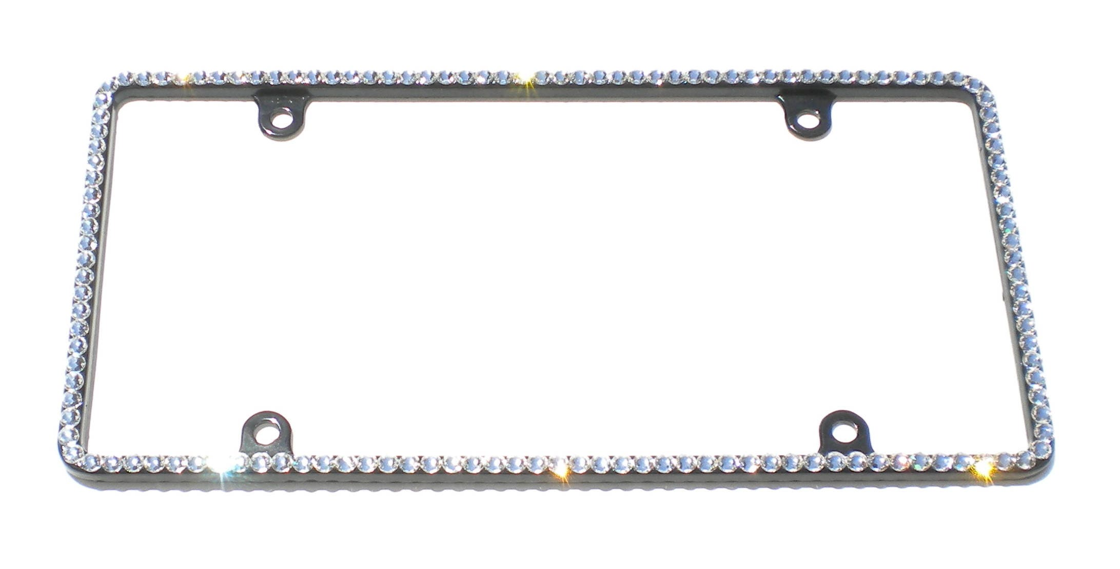 Thin CRYSTAL Bling License Plate Black Frame made with