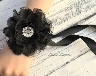 Black Chiffon Lace Flower Wrist Corsage | Vintage Inspired Wedding Corsage | Elegant Wedding | Mother of the Bride | Flower Girl | Prom