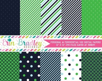 80% OFF SALE Digital Scrapbook Papers Personal and Commercial Use Preppy Navy Blue and Kelly Green Medley