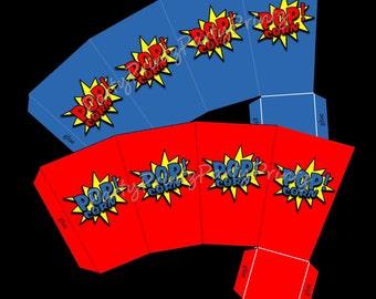 INSTANT DOWNLOAD - Printable POPcorn Boxes - Superhero