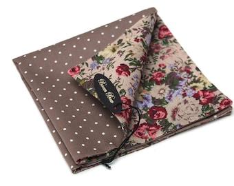 Reversible mens pocket square 10'' Brown polka dots and floral hanky pocket square Hanky Boom Bow