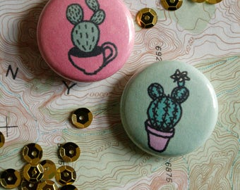 "hand drawn 1"" inch buttons / cactus succulent plant / wearable art"