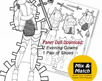 Paper Doll Fantasy Armor Coloring Page- Mix & Match Digital Paper Doll- Printable Paper Doll Clothing Set- Dress Up Doll- Paper Doll Dresses