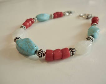 Turquoise, Red Coral and Rainbow Moonstone Bracelet