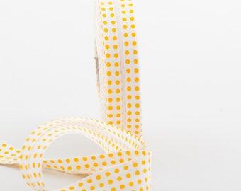 20MM folded cotton fabric: white yellow polka dot pattern