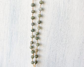 Reversible druzy necklace, beaded druzy necklace, beaded necklace, druzy necklace, reversible necklace, necklace, a magnolia morning,